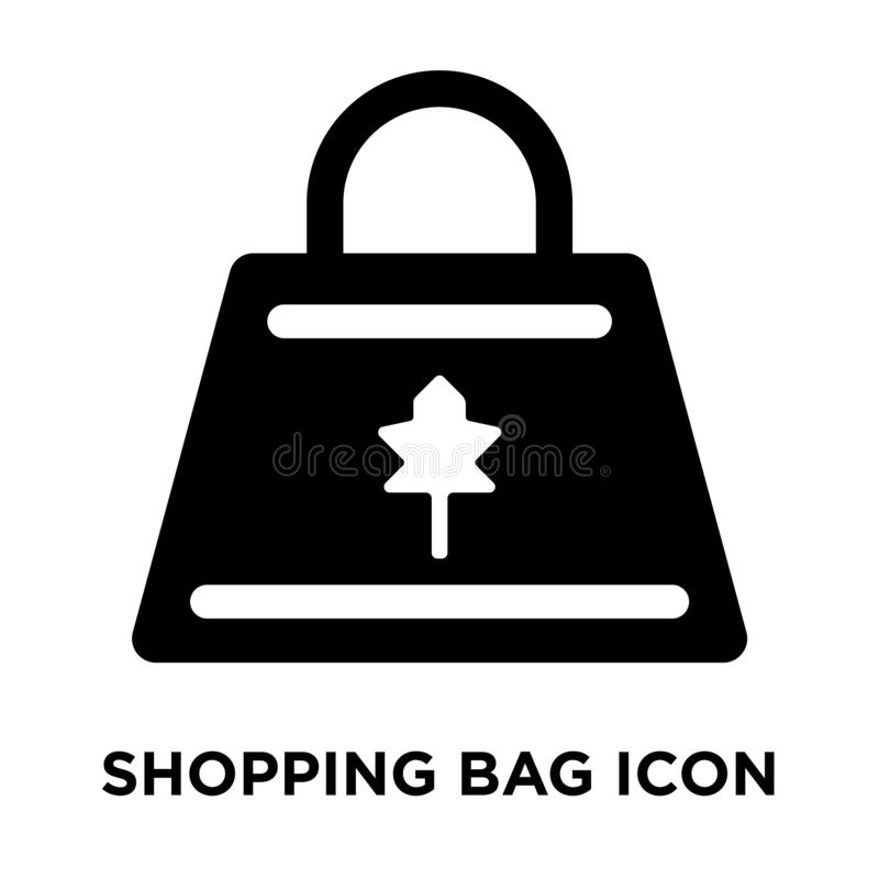 Shopping bag icon vector isolated on white background, logo concept of Shopping bag sign on transparent background, black filled royalty free illustration