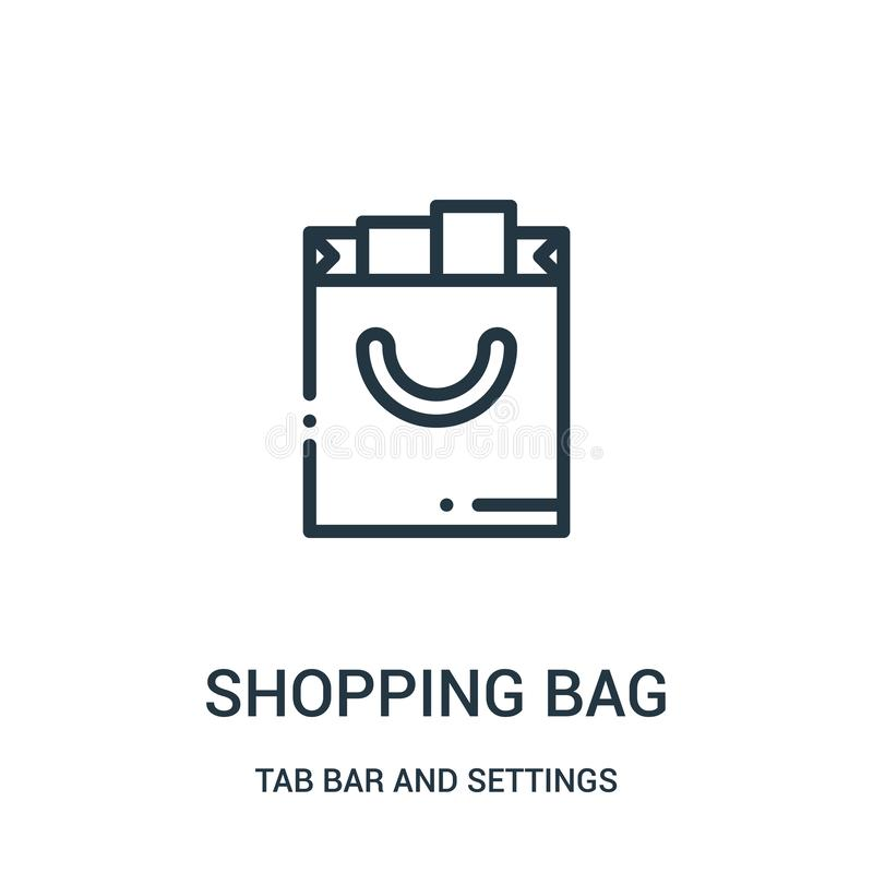 shopping bag icon vector from tab bar and settings collection. Thin line shopping bag outline icon vector illustration stock illustration
