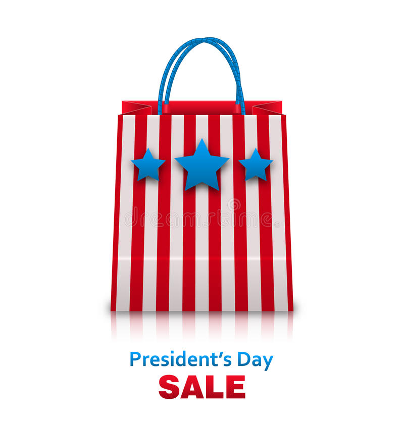 Free Shopping Bag In USA Patriotic Colors For Presidents Day Sale. Packet Isolated On White Background Royalty Free Stock Images - 66044089