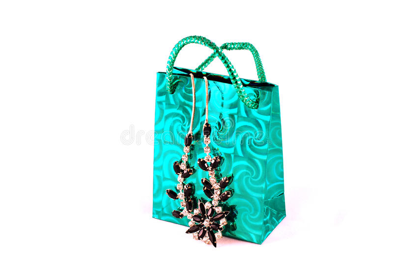 Shopping bag and jewelry royalty free stock photo