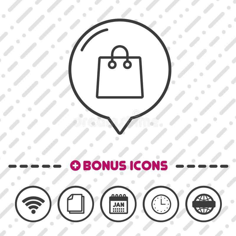 Shopping bag line icon. Online buying symbol. stock illustration