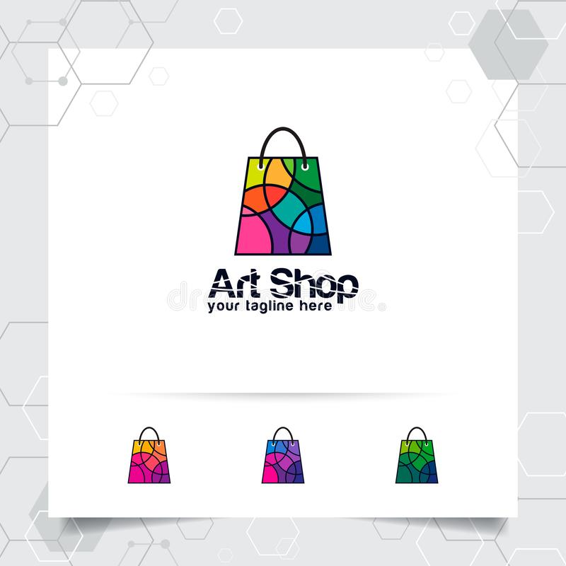 Shopping bag logo design concept of online shop icon and colorful geometric vector used for camera store, e-commerce, and stock illustration
