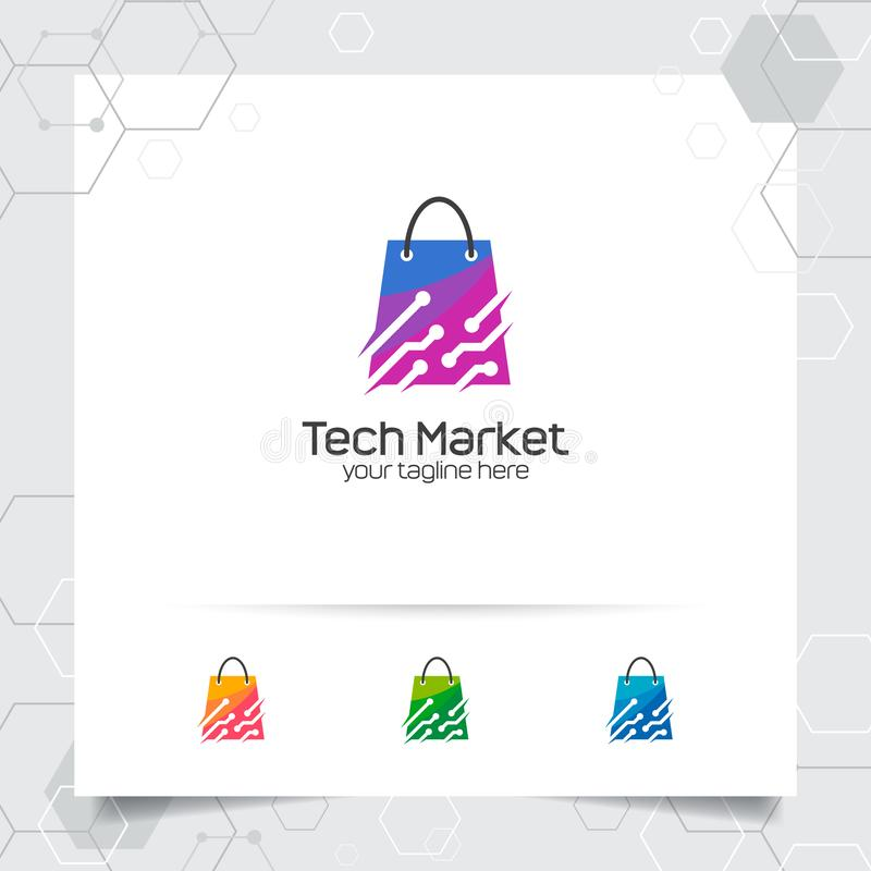 Shopping bag logo design concept of online shop icon and technology vector used for merchant, e-commerce, and supermarket.  stock illustration