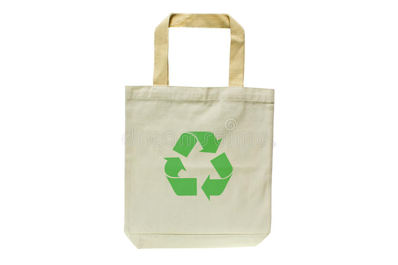 Shopping bag made out of recycled materials. Isolated on white background, Ecologically friendly, replaces plastic shopping bags. Image royalty free stock images