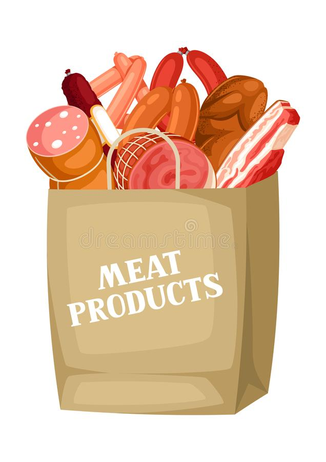 Shopping bag with meat products. Illustration of sausages, bacon and ham royalty free illustration
