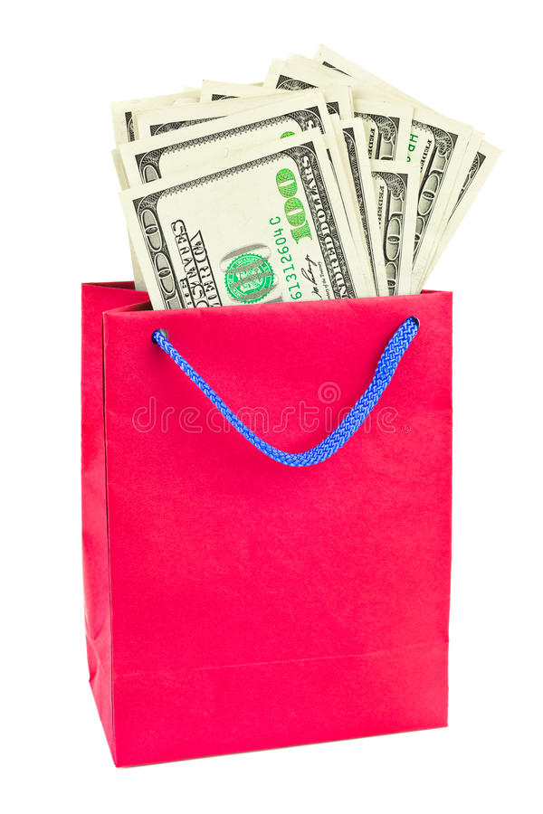 Shopping bag with money royalty free stock photos
