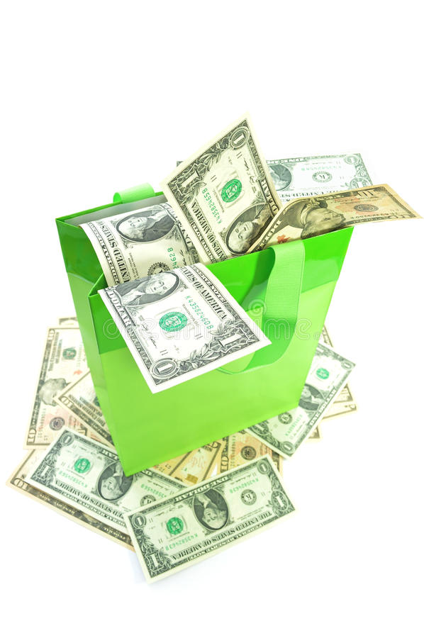 Shopping bag with money stock photography