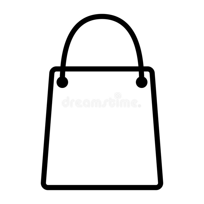 Shopping Bag Pixel Perfect Vector Thin Line Icon 48x48. Simple Minimal Pictogram stock illustration