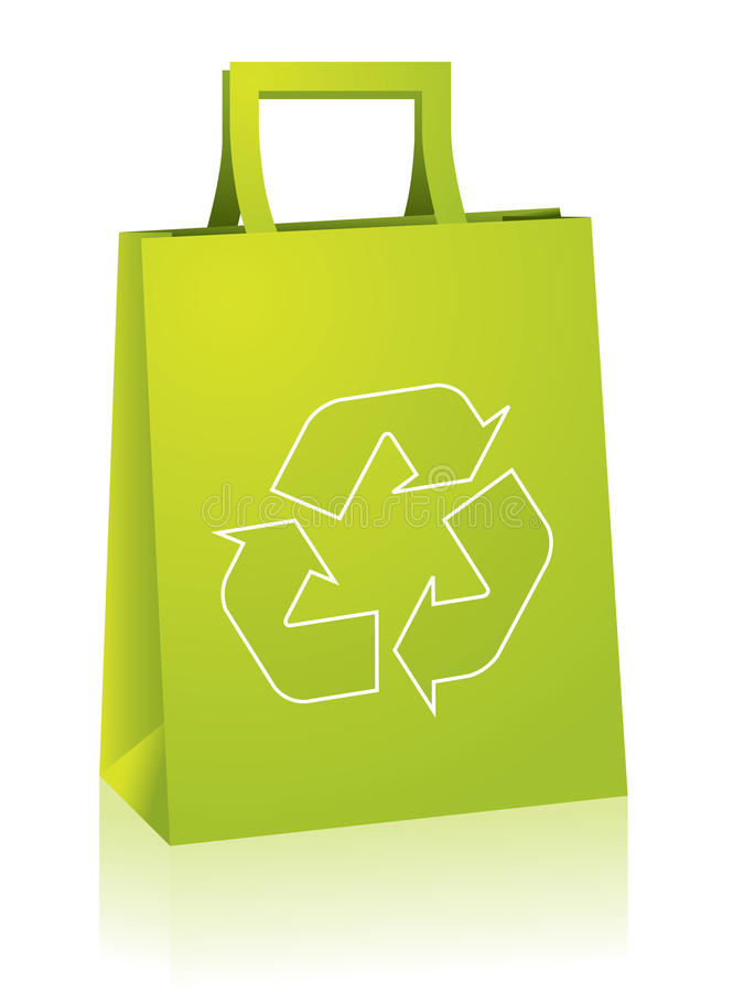 Shopping bag with recycle sign stock illustration