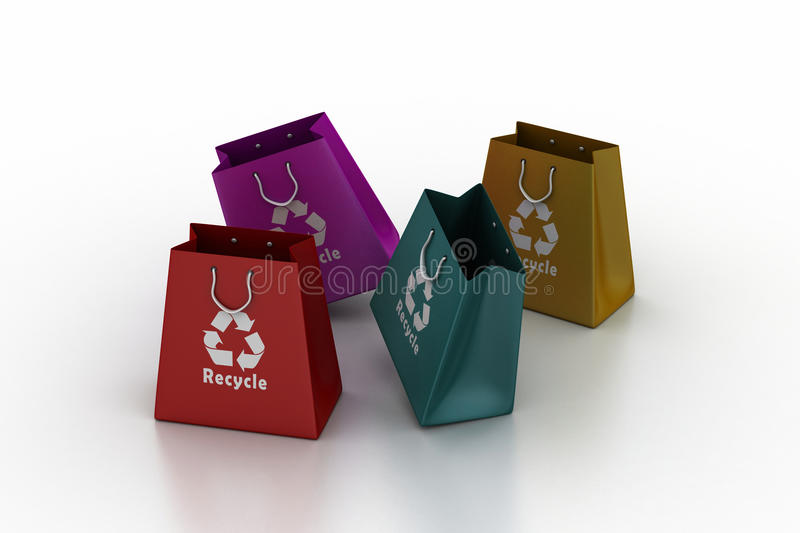 Shopping bag with recycle symbol vector illustration
