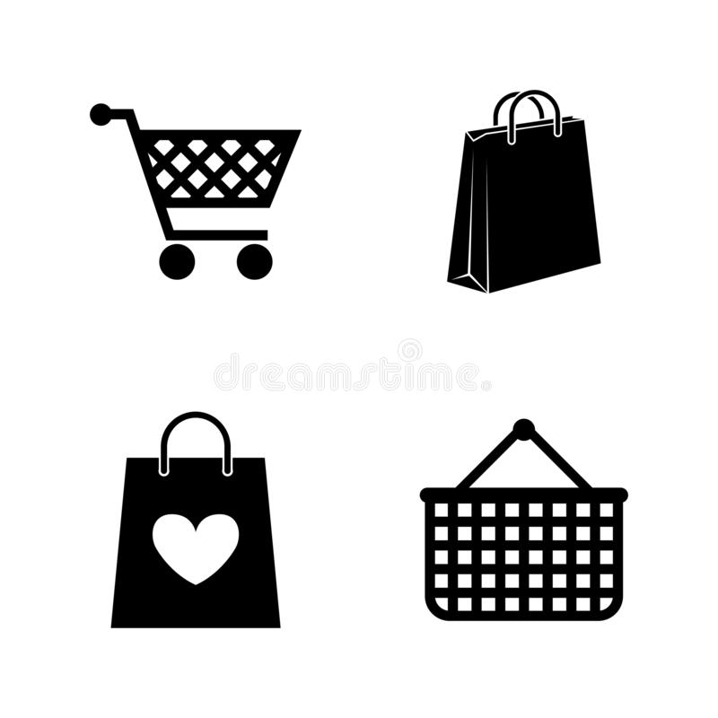 Shopping Bag. Simple Related Vector Icons. Set for Video, Mobile Apps, Web Sites, Print Projects and Your Design. Shopping Bag icon Black Flat Illustration on royalty free illustration