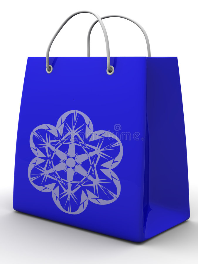 Shopping bag with snowflake vector illustration