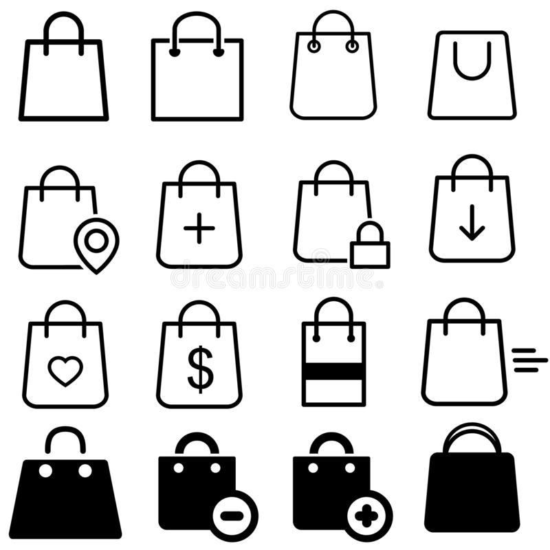 Shopping bag vector icons set. Bag icon. buy illustration symbol collection. store sign or logo. For web sites or mobile royalty free illustration