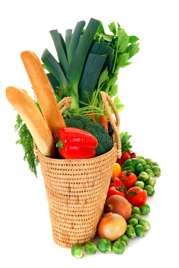 Shopping bag with vegetables royalty free stock photography