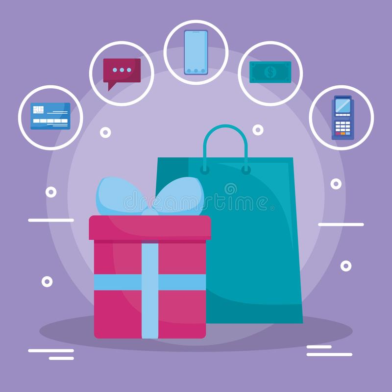Free Shopping Bag With Gift Box Stock Photography - 142457062