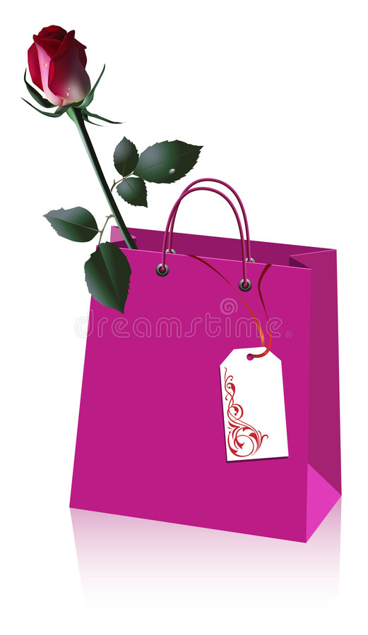Free Shopping Bag With Rose Royalty Free Stock Photography - 4971627