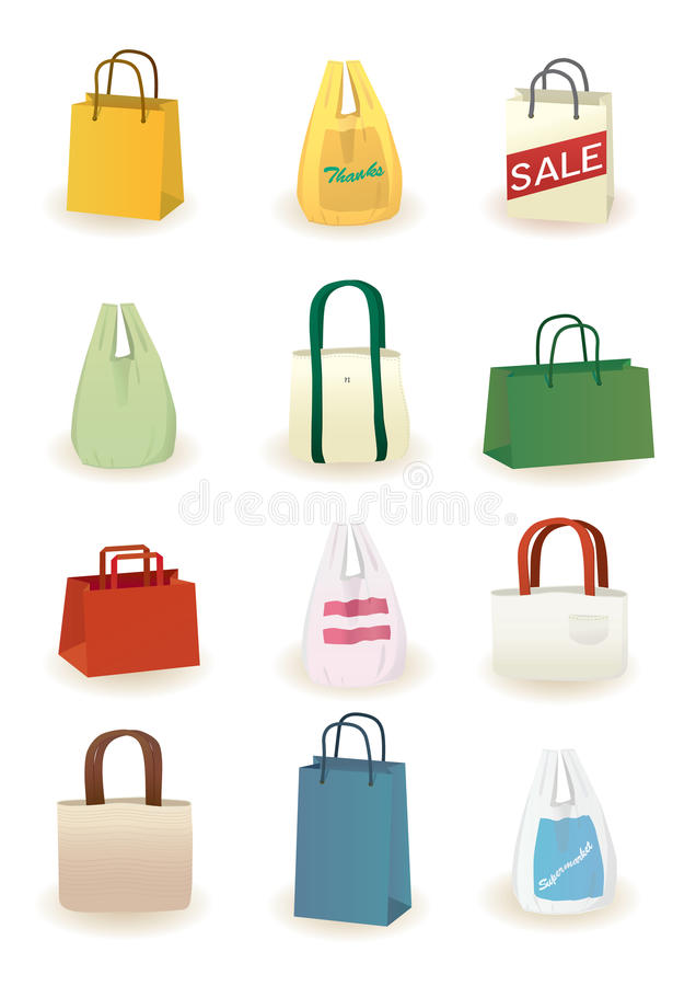 Shopping bags. Different kinds of shopping bags you will get at shops and supermarkets vector illustration