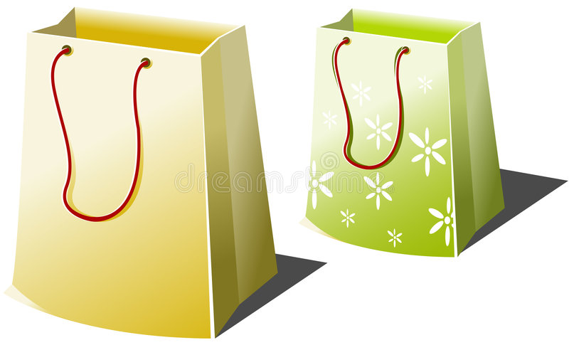 Shopping bags. Two Shopping bags over white stock illustration