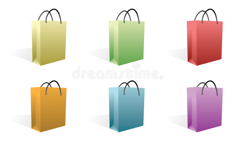Shopping bags. Set of shopping bags in colors stock illustration