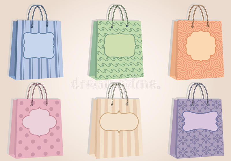 Shopping bags with blank labels, vector vector illustration