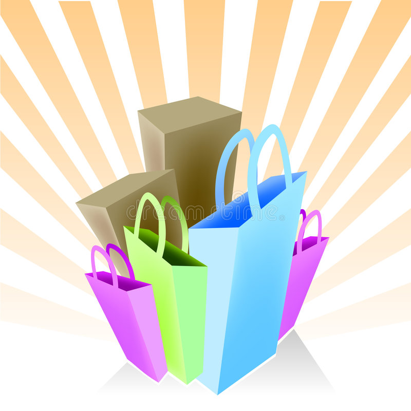 Shopping bags and boxes vector illustration