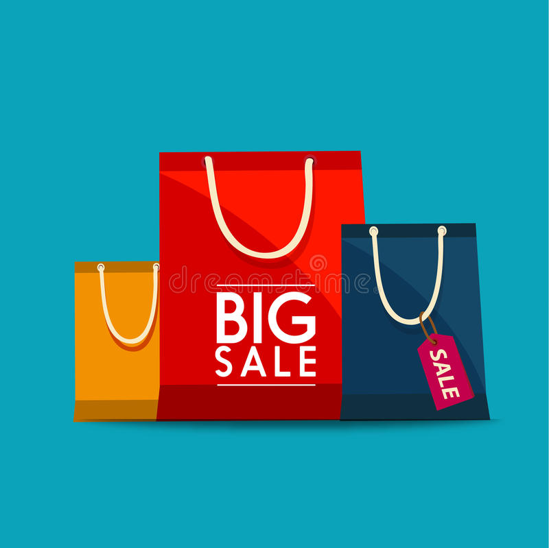 Shopping Bags Design Icon. Shopping bags to promote sales. stock illustration