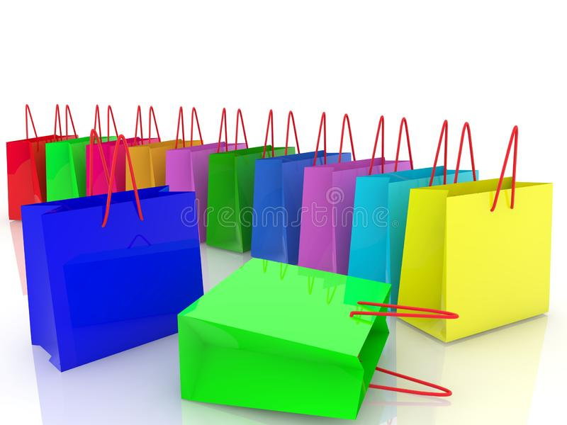 Shopping bags in different colors stock illustration