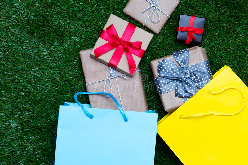 Shopping bags and gifts royalty free stock photo