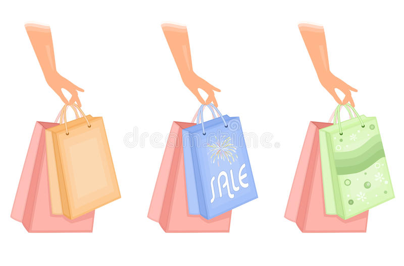 Shopping Bags Icons Stock Photography