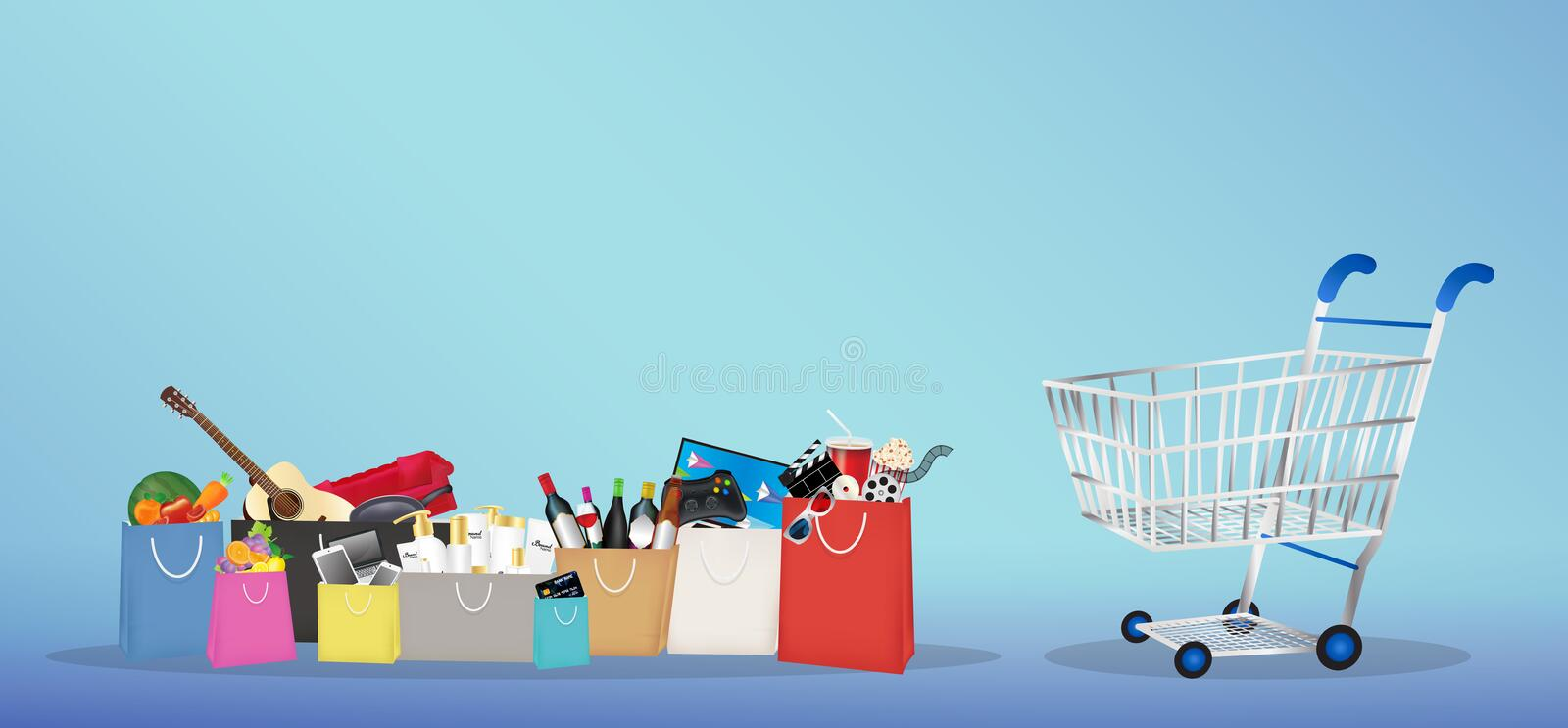 Shopping bags with many item inside with shopping cart royalty free illustration