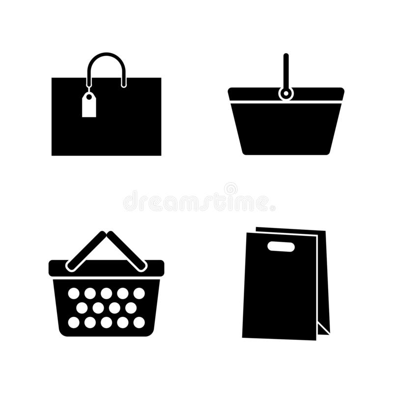 Shopping Bags, Package. Simple Related Vector Icons. Set for Video, Mobile Apps, Web Sites, Print Projects and Your Design. Shopping Bags, Package icon Black royalty free illustration