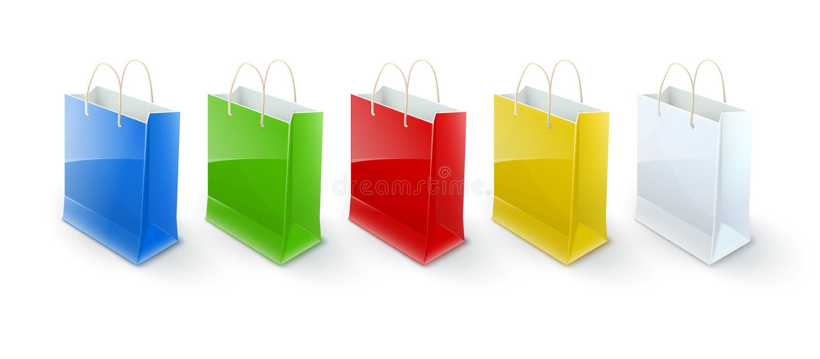 Shopping bags paper packaging for goods. And products transportation from shop or grocery. Realistic template mockup vector illustration. On white transparent stock illustration