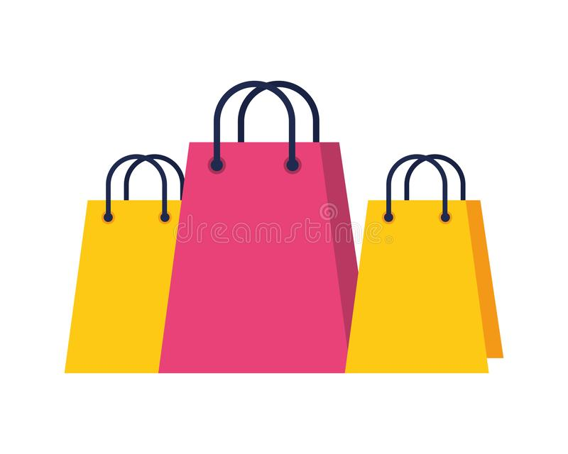 Shopping bags papers isolated icons 库存例证