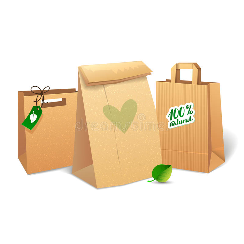 Shopping bags that save the environment. Shopping paper bag. Eco Market Promo vector illustration