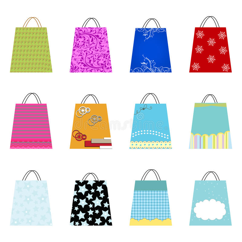 Shopping bags. Set of 9 different styled shopping bag illustrations stock illustration