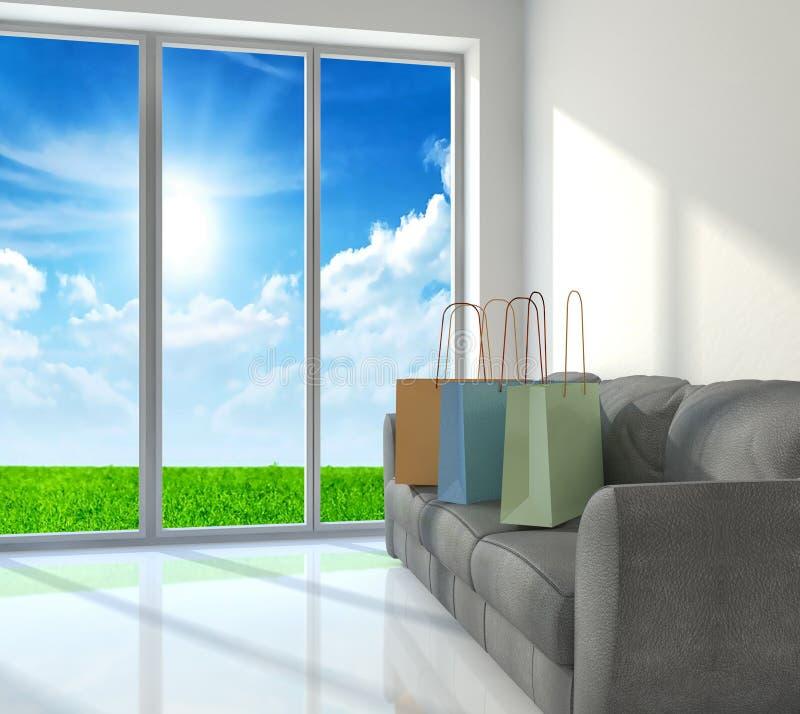 Shopping bags on sofa. Near a big window stock illustration