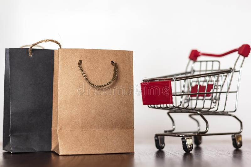 Shopping bags and trolley. Shopping concept stock images
