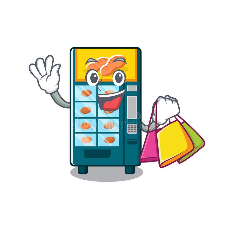 Shopping bakery vending machine in character shape royalty free illustration