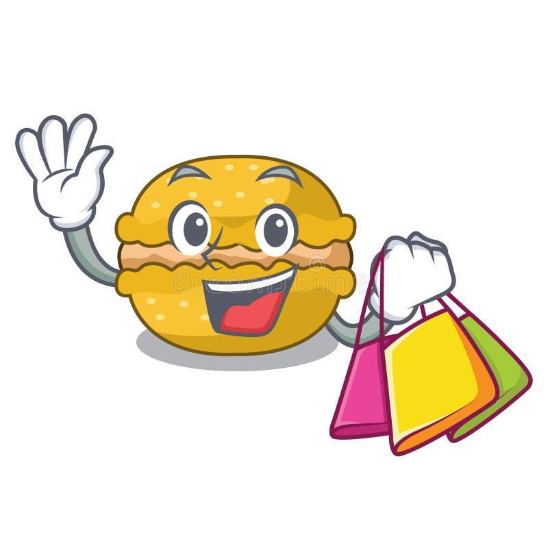 Shopping banana macarons cake shape a cartoon stock illustration