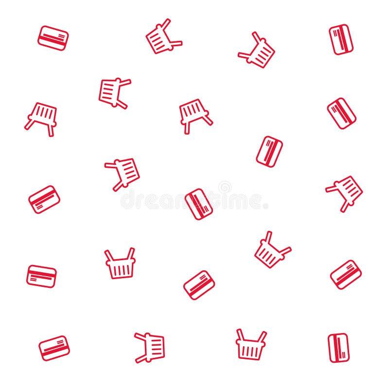 Free Shopping Basket And Bank Card Pattern Stock Photo - 142845300