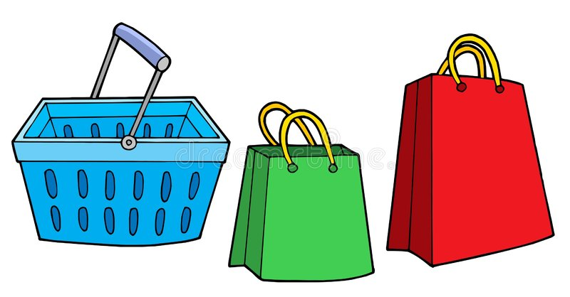Shopping basket and bags stock illustration
