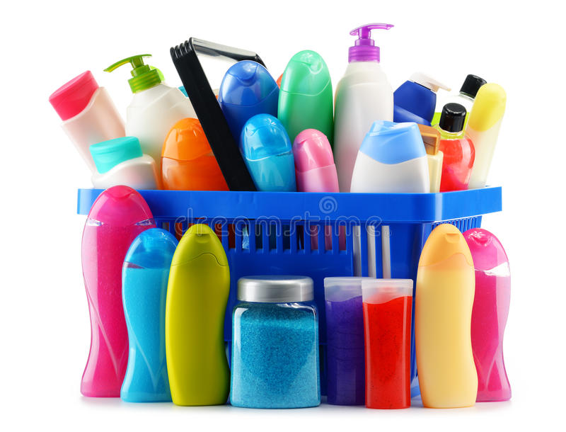 Download Shopping Basket With Body Care And Beauty Products Over White Stock Image - Image: 63009695