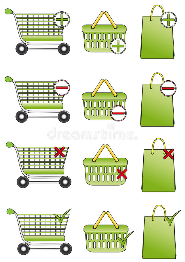Shopping Basket, Cart And Bag Icons Royalty Free Stock Photography