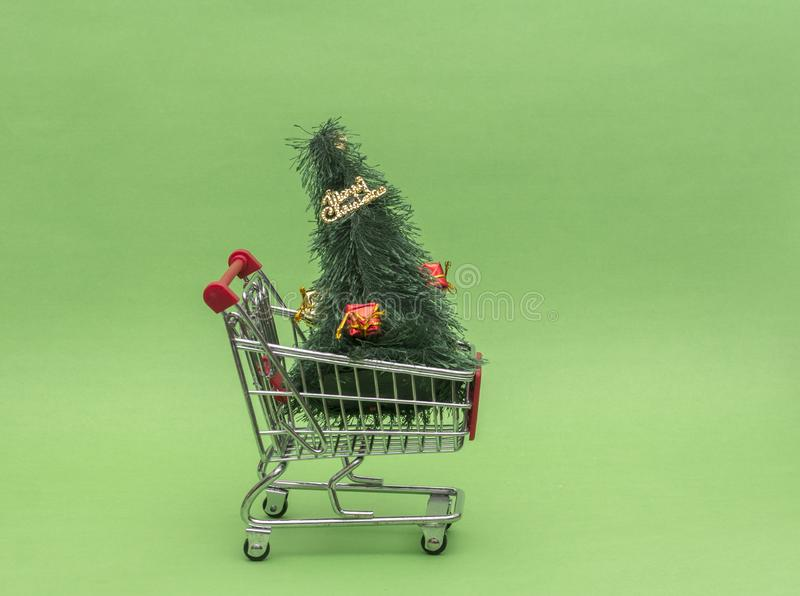 Shopping Basket Cart With Christmas Tree And Ornaments ...