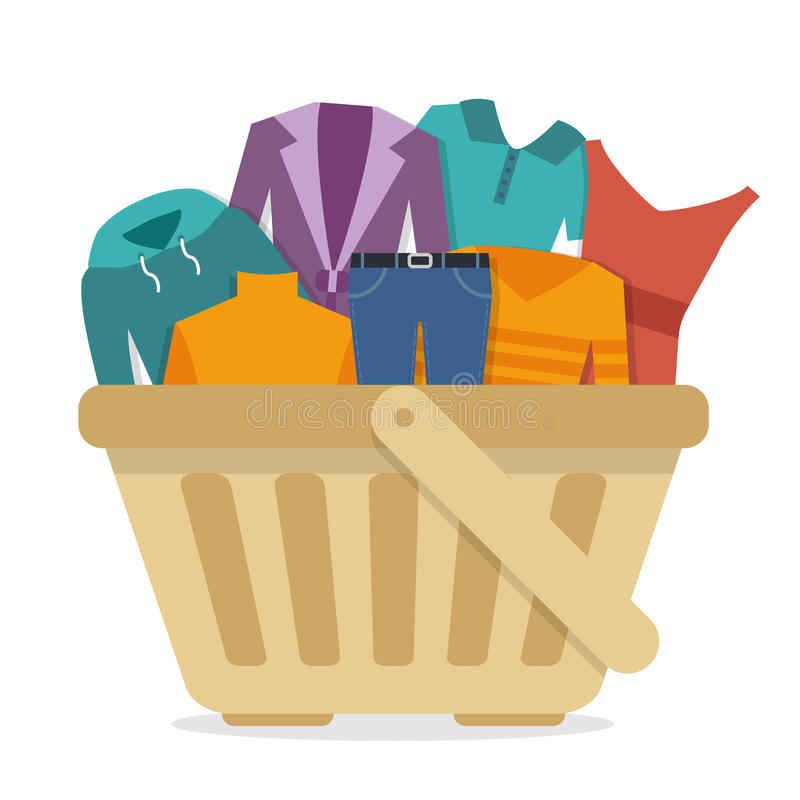Shopping basket with clothes. Flat style vector illustration stock illustration