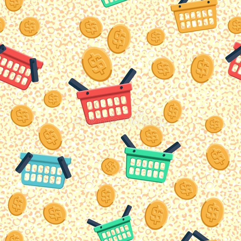 Shopping basket and coin flat icons. Seamless pattern background royalty free illustration