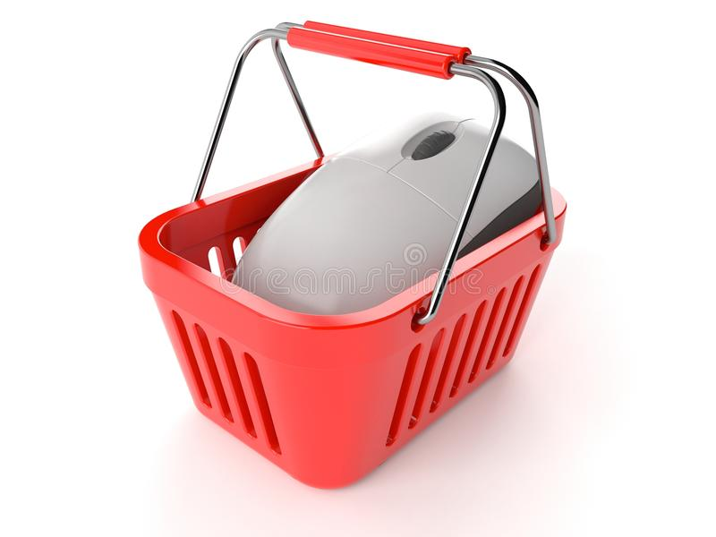 Shopping basket with computer mouse stock illustration