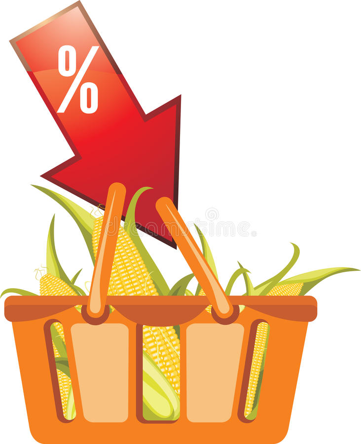 Download Shopping Basket With Corncobs Stock Vector - Image: 26328815