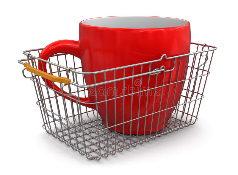 Download Shopping Basket And Cup (clipping Path Included) Stock Illustration - Image: 33720798