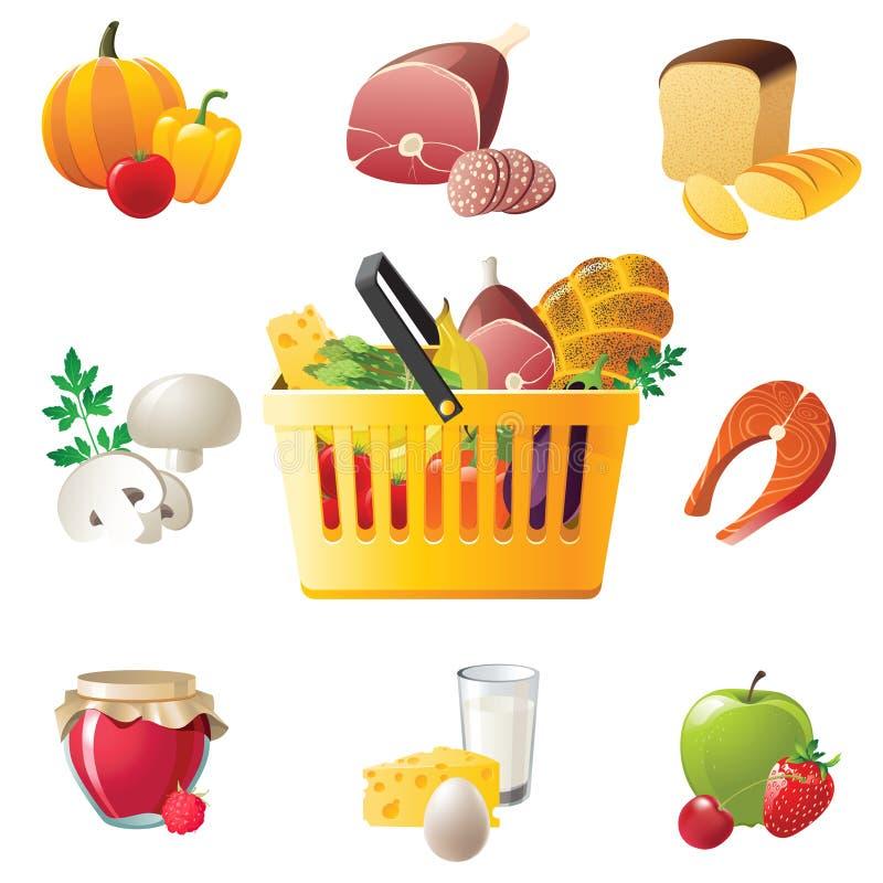 Shopping basket and food icons stock illustration